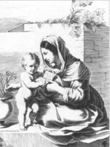 Фр. Курті. Мадонна з немовлям.  XVII ст. Гравюра.
