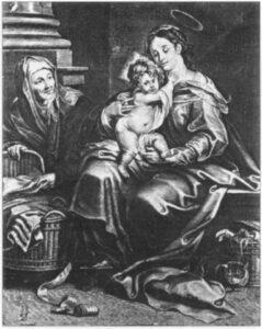 П. Понтіусі. Мадонна з немовлям та св. Анною. Середина XVII ст. Гравюра за картиною Ж. Серегаса.